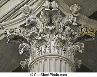 Corinthian Pillar - detail of a richly decorated corinthian...