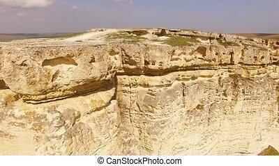 White Rock Called Ak Kaya In Crimea - AERIAL VIEW. Panoramic...