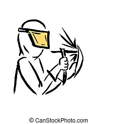 Welder, sketch for your design. Vector illustration