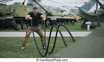 The soldier gave a CrossFit training at a military base....
