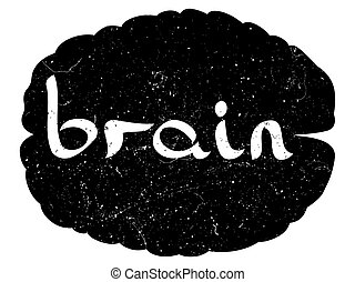 text with hand drawn brain sketch. VECTOR illustration,...