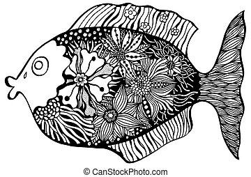 Hand drawn fish with floral elements in black and white...