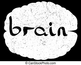 text with hand drawn brain - 'Brain' text with hand...
