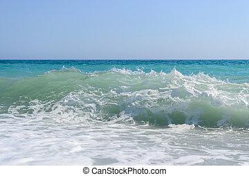 Sea foam wave - Big sea foam wave blue sky photo