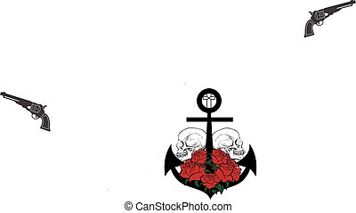 Skull, Roses Anchor Tattoo Vector