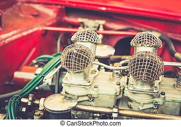 Close up of a vintage engine