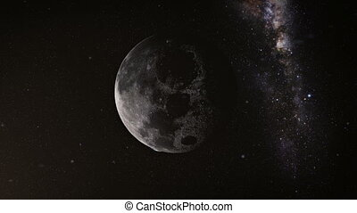 Earth and moon - View from the moon orbit and rotating...