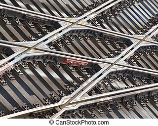 Crossing - background of lots of rails crossing seen from...