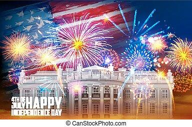 Fourth of July celebration - illustration of United States...