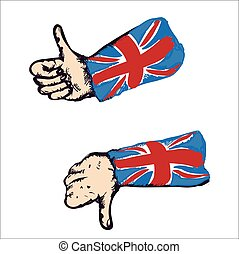 Thumbs Up And Down - Set of drawn hands with british flag...