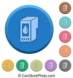 Embossed ink cartridge buttons - Set of round color embossed...