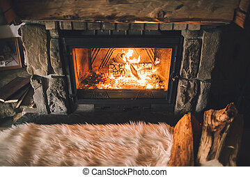 Warm cozy fireplace with real wood burning in it Cozy winter...