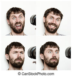 Composition of different expressions of the young bearded...