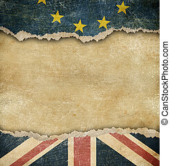 Brexit - European union and Great Britain flags on cardboard...