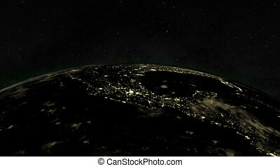 Planet earth at night with space background, 3d rendering