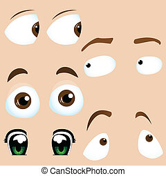 Set of 5 cartoon eyes Editable Vector Illustration