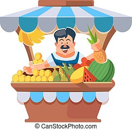 Local market farmer selling vegetables. - Vector...