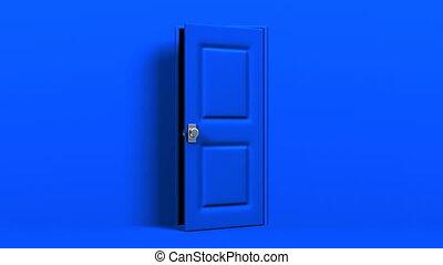 Blue Door With Text Space And Dark Room 3DCG render...
