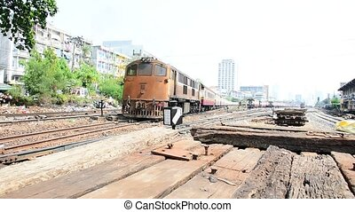 Thai railway train - Bangkok, Thailand - April 12, 2016 :...