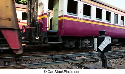 Thai railway train - Bangkok, Thailand - April 25, 2016 :...
