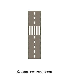 Road with crosswalk icon, cartoon style - Road with...