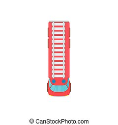 Fire truck top view icon, cartoon style - icon in cartoon...