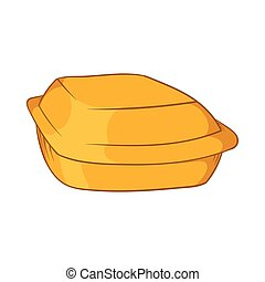 Food container icon, cartoon style