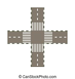 Empty road intersection icon, cartoon style - Empty road...
