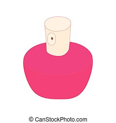 Pink female perfume flacon with sprayer icon - icon in...