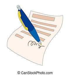 The document is signed icon, cartoon style - icon in cartoon...
