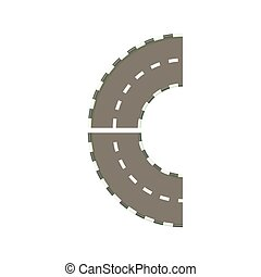 Part of circle road turn icon, cartoon style