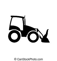 Front loader icon, pictogram. Excavator vector silhouette,...