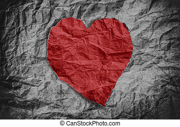 Red heart on crumpled paper texture, heart background,...
