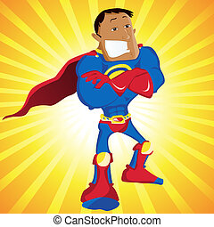 Black Super Man Hero Dad. Editable Vector Illustration