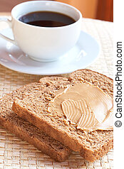 Tasty healthy wholewheat bread and coffee - Two slices of...