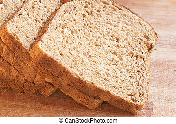 Tasty healthy wholewheat bread - Slices of tasty healthy...