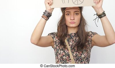 Young Hippie Girl Wants to Live in Peace - Young Hppie Girl...