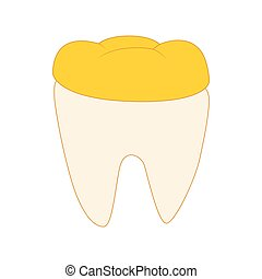 Tooth with golden dental crown icon, cartoon style
