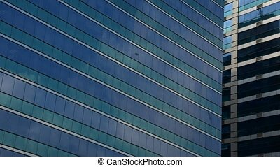 Glass building with blue sky, Timelapse - Big glass building...