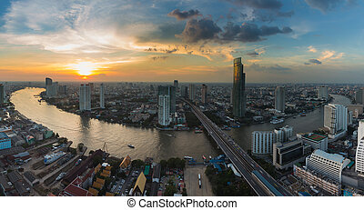 Aerial view Bangkok river curved