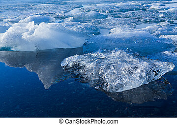 Ice melting in a lake