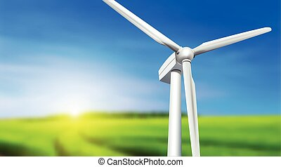 Wind turbine summer landscape - Wind turbine, grass and blue...