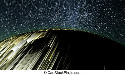 The stunning effects of star trails from space, 3d rendering...