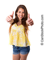 Yeah All ok - Beautiful young woman signaling ok, isolated...