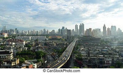 Sunshine morning time and transportation in Bangkok city...