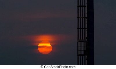 Solar eclipse 9-Mar-2016 Bangkok Thailand - The sun on sky...