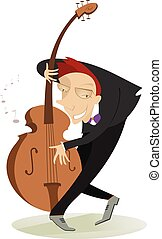 Smiling cellist is playing music