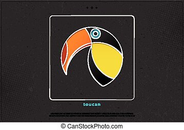 toucan frame - colorful, tropical bird icon over black paper...