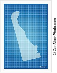 Delaware on blueprint on a white background