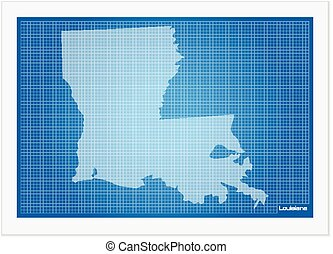 Louisiana on blueprint on a white background